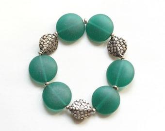 green bracelet / gift for her / april birthday / beach glass bracelet green stretch bracelet teacher gift