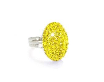 Light Topaz Swarovski Crystal Stone Ring