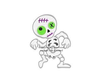 Zombie Skeleton Halloween Applique Design - Instant EMAIL With Download - for Embroidery Machines