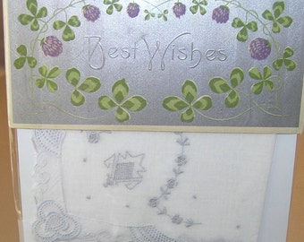 Lovely Bridal Accessory!  Fine White Handkerchief Enclosed with Sweet Antique Postcard!