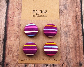 Fabric Covered Button Magnets / Horizontal Lines Magnets / Purple Magnets / Strong Magnets / Refrigerator Magnets / Fridge Magnets