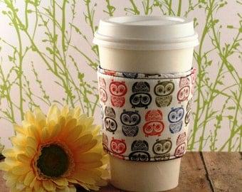 Fabric Coffee Cozy / Owl Rows Coffee Cozy / Owl Coffee Cozy / Coffee Cozy / Tea Cozy