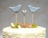 Etsy Wedding Cake Topper, Grey Cake Topper, Love Bird Wedding Topper, Bird Cake Topper with Driftwood