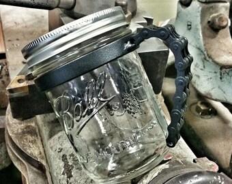 Black Bike Chain Mason Jar Handle