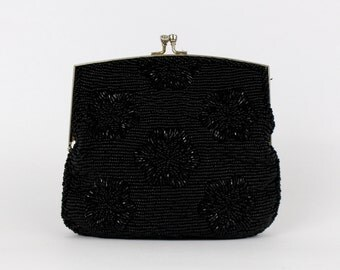 Black Beaded Evening Bag - Vintage 1960s Beaded Black Clutch - Beaded Purse by Du Val
