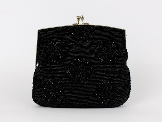 Black Beaded Evening Bag - Vintage 1960s Beaded Black Clutch - Beaded Purse by Du Val