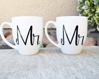 MR. and MR. // his and his // Coffee Mugs // Gay Wedding Gift