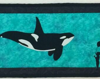 Row by Row Experience - H2O 2015 Row Window to the Sea Orca Whales from Sew Happy Fabrics