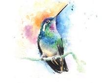 HUMMINGBIRD PRINT- watercolor hummingbird wall art, hummingbird lover gift, bird decor, bird lover, watercolor bird painting