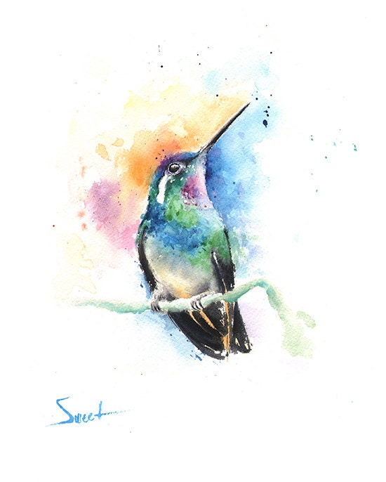 Hummingbird Print Watercolor Hummingbird Wall Art
