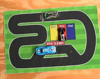 Race Track Scene Fabric for travel mat