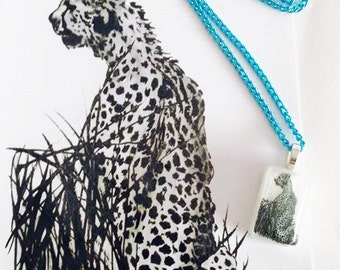 Watercolour & pen Cheetah Black and White Print Illustration and Matching Resin Pendant Necklace with Blue Chain