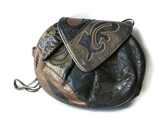 Festival leather bag Vintage Sharif USA Quilted bag Boho leather bag Green cross body bag Gift for wife Bag Leather patchwork shoulder bag