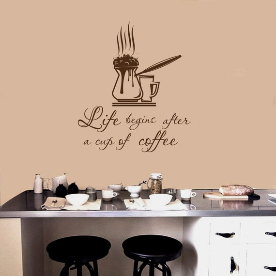 wall decals quotes life begins after a cup of coffee by pics photos coffee wall art sticker