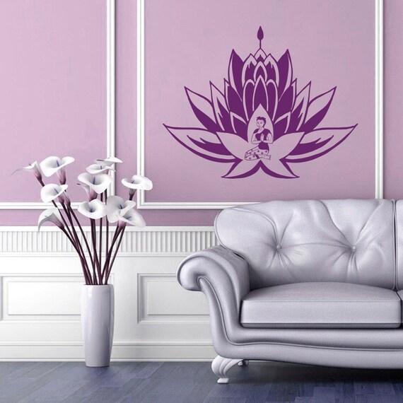 Wall Art Stickers East Rand : Wall decals lotus flower flora meditation buddha by bestdecals