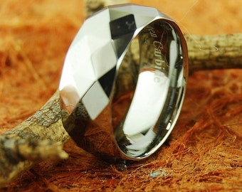 8MM Tungsten Faceted Design Ring