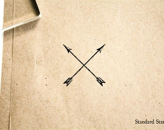 Arrows Crossed Vintage Rubber Stamp - 2 x 2 inches