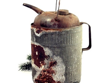 Vintage Winfield Kerosene Can, Fuel Can, Naturally Distressed Rusty, Shabby Decor, Primitive Decor