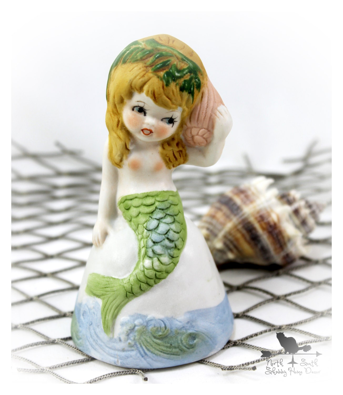 Vintage Christmas Decorations Mouse Carolers Set Jasco: Vintage Mermaid Figurine Coastal Cottage Decor Beach House