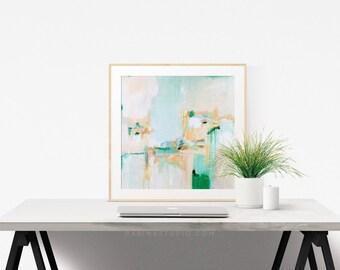 Summer Rain, 6x6-24x24in, Abstract Fine Art Print, abstract print, green abstract, blue abstract