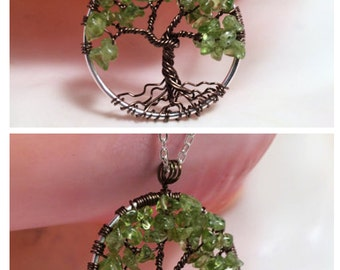 Under the Oak Tree Of Life Necklace Green Peridot Pendant Dark Brown Trunk On Silver Chain Wire Wrapped Gemstone Jewelry August Birthstone