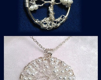 Wedding Jewelry Necklace, Bridal Jewelry Pendant, Pearl Crystal Tree of Life Pendant, Wire Wrapped Tree of Life, Trending Jewelry
