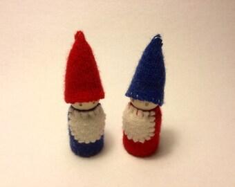 2 gnome dolls with beards Australian made Waldorf inspired