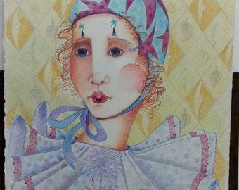 Fine Art Original Drawing Berta Zimdars Melodia's Rhyme Colored Pencil Prismacolor
