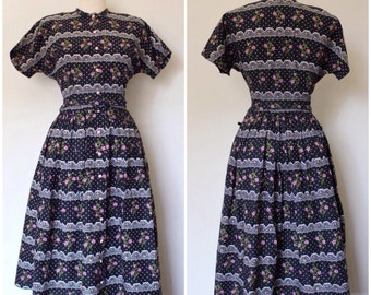 SALE || Vintage 1950s Dress | 1940s Dress | 50s Black Floral Dress | 40s Collar Dress | 1950s Dress | L