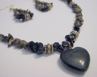 NECKLACE & EARRING SET - Heart of Stone - Black And Brown - One Of A Kind - Great Gift Idea!