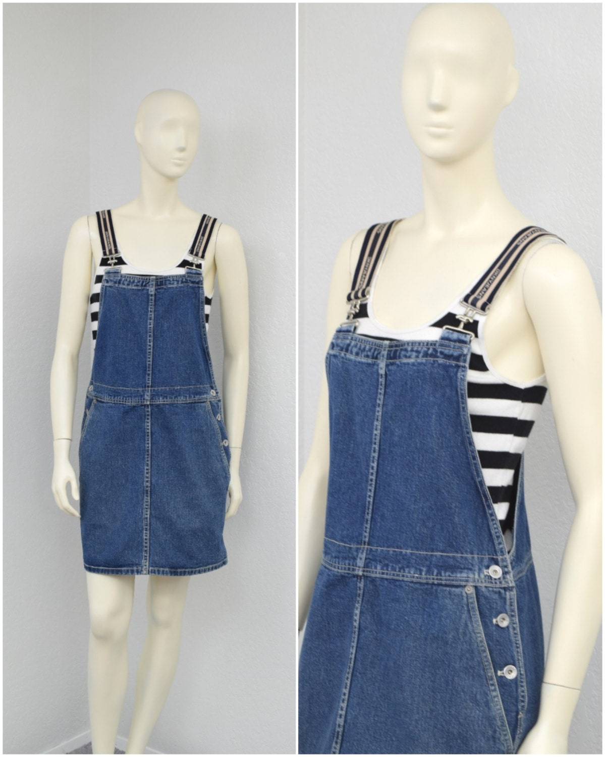 Vintage 90s DKNY Blue Denim Skirt Overalls Skirtalls Denim