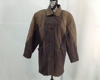 """Brown Leather with """"Lizard Skin"""" Coat - size medium"""
