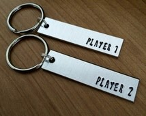Player 1 Player 2 keychains - geeky gifts - gifts for couples