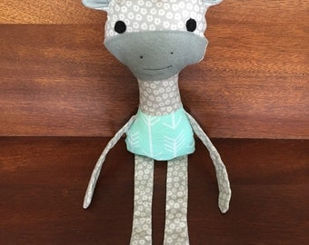 Genevieve the Giraffe - Mint and Gray Giraffe Plush/Stuffed Animal