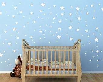 White Star Wall Decals,3size star decals for walls,135 pieces star wall decal, Nursery star wall decals, Removable star graphic sticker 109