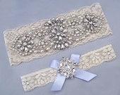 Something Blue Wedding Garters, Ivory / White Lace Keepsake / Toss Bridal Garter Set, Pearl Crystal Rhinestone Custom Garter, Blue Garter