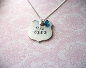 Hand Stamped Mrs. Police Wife -Badge Number- Necklace // Thin Blue Line // Police Wife Jewelry
