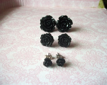 Handmade Black Rose Earring Set // Bridesmaids Earrings // Large Black Rose Earrings