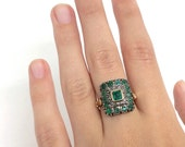 Reserved for Kathi Gorgeous and unusual 15k Emerald and Diamond Ring, circa 1890's