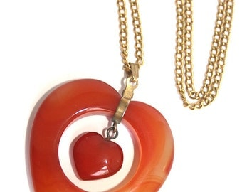 Huge Vintage Agate Double Heart Pendant Necklace