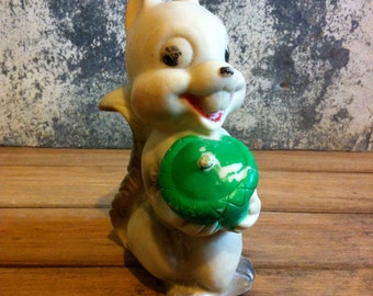 vintage squeaky dog toy / vintage squirrel