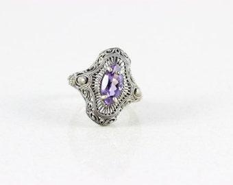Sterling Silver Amethyst Filigree Ring  size 7