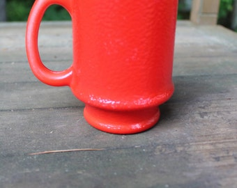 Hazel Atlas Bright Red Milk Glass Pedestal Mug