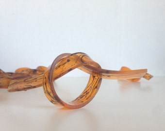 Lucite Napkin Rings Tortoiseshell Swirl Set of Eight Vintage Mod