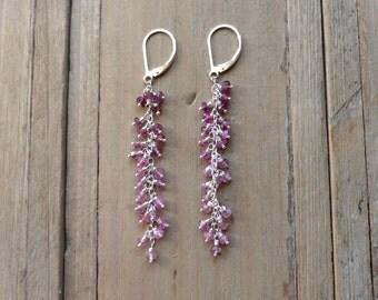 Long Fringed Ombre Pink Tourmaline Sterling Silver Earrings