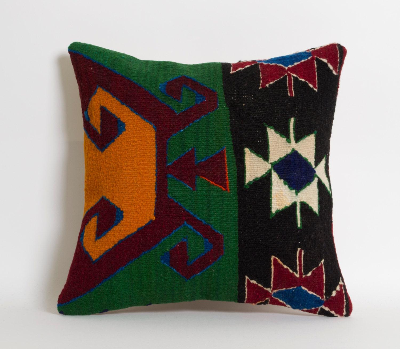 Turkish Kilim Pillow Home Decor Decorative Pillow Home: Kilim Pillow Cover Ethnic Home Decor Handwoven Wool Turkish