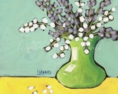 Lavender #12 - Fine Art PRINT - Bouquet in Lime Green Vase - cottage chic, whimsical, contemporary, acrylic painting, nursery art