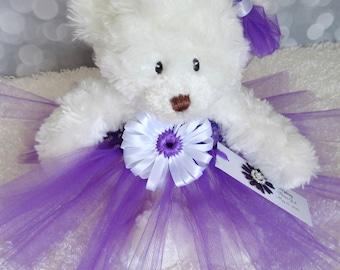 Plum Princess Tutu Teddy Bear, girls gift, flower girl gift, Wedding Keepsake, Purple Flower Girl Bear