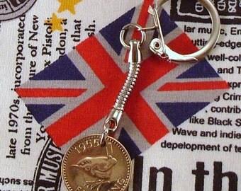 1955 British Farthing Coin Keyring Key Chain Fob Queen Elizabeth II Wren