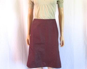 "Miu Miu Burgundy Knee-Length Cotton Skirt 29""w"